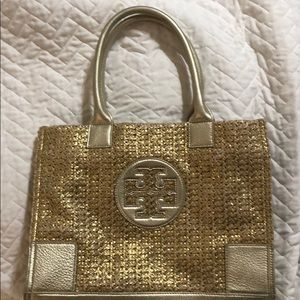 Tory Burch Ella Mini Metallic Straw Tote Bag Gold